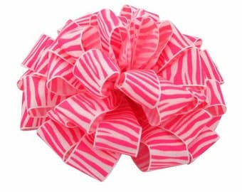 "1 1/2"" Pink and White Zebra Print - Crystal Ribbon- 3 Yards"