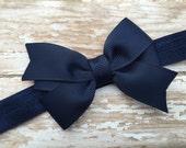 Navy blue bow headband - navy blue baby headband, newborn headband, baby headband, bow headband, baby bow headband, baby girl headband, navy