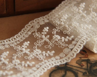 ivory lace trim with double edges, lace tape