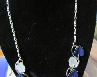 Blue and white plastic repurposed silver tone choker