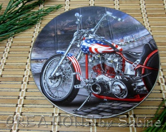 Harley Davidson Easyriders Plate Brotherhood of Honor Lacourciere Pride America Hamilton Collection Veterans Wall FREE SHIPPING (314)