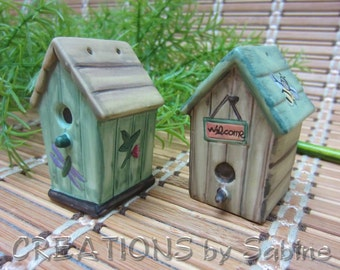 Birdhouse Salt & Pepper Shaker Set, Ceramic Whimsical Bird Bee Welcome Dragonfly Flower Garden Gardener Gift Vintage FREE SHIPPING (322)