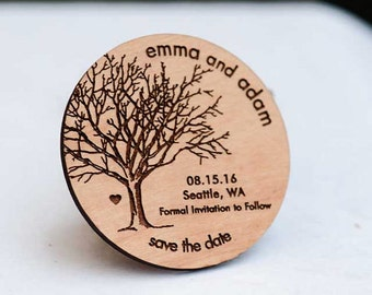 50+ Rustic Tree Save the Date Magnets - Laser cut and Etched on Wood