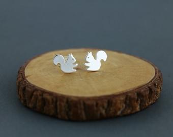 Squirrel Earrings - Squirrel stud - handmade in sterling silver