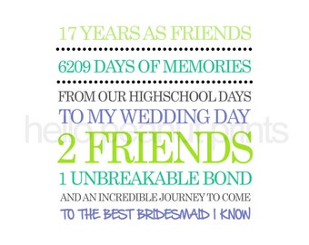 8 x 10 Custom Bridal Print - New. Create your own Wording for your bridesmaid and customize the colours
