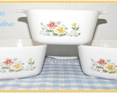 RARE  Corning 'Autumn Meadow' Mini Casseroles, P-43-B, Imoco Direct Mail Order Only 1984 & 1985, Cook Serve and Store,