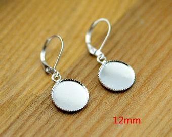 50pcs 12mm Bright Silver Settings Earring Hook