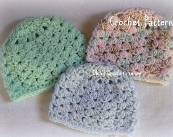 Preemie Baby Hat Crochet Pattern, Baby Girls and Baby Boys, Easy to Make, Instant Download