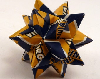 Small Origami Star Made From Licensed West Virginia University Paper, WVU Ornament, Mountaineers Star, Mountaineers Decoration