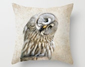 Fine Art Photography Accent Pillow  Rustic Owl  Nature Inspired  Bird Print Throw Pillow Home & Office Decor  Pillow Sham
