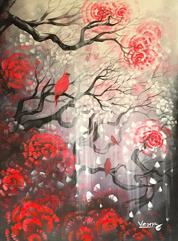 red bird custom acrylic painting on
