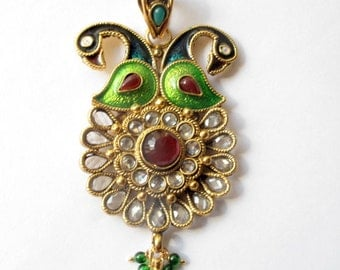 Beautiful peacock themed pendant earring set, antique gold.