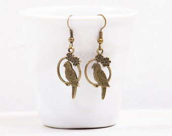 Parrots Earrings,  Parrot jewelry, Antique Brass Earrings Charm earrings Antique bronze earrings  Parrot earring gift Parrot lover gift