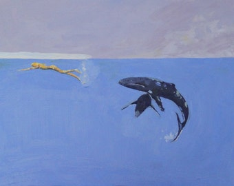 giclee art print of original acrylic painting, whales, diving, ice, woman, sea, blue, A4 or 8 x 10 inches