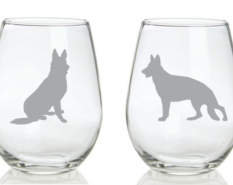German Shepherd Glass FREE Personalization