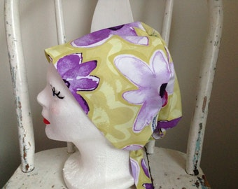 Scrub Hat Tie Back Pixie Style Yellow with Large Purple Flowers