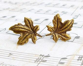 Antique Brass Maple Leaf post earrings