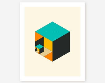 Giclée Fine art Print, Modern, Geometric, Abstract Minimalism for the home decor, CUBICLE #1