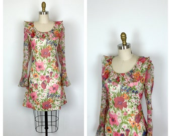 60s Floral Organza Spring Dress • 1960s Mod Shift Dress • Long Sleeve • Flounce Neckline • Medium • Large