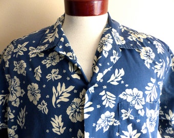 aloha vintage 80's Howie cobalt blue two-tone white floral tropical hibiscus flower leaf print hawaiian shirt short sleeve button up camp LG