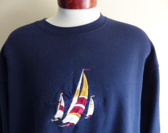 vintage 90's Sailing yacht compass embroidered logo navy bolue fleece graphic sweatshirt unisex crew neck pullover jumper unisex oversized L