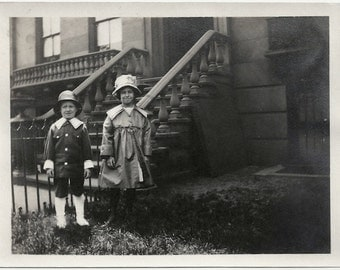 Old Photo Girl and Boy Dressed Up in front of Nyc 1910s Photograph snapshot vintage
