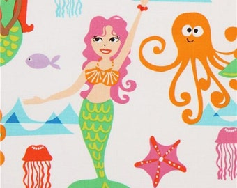 Fat Quarter Swim With Us Mermaids Cotton Quilting Fabric - Michael Miller
