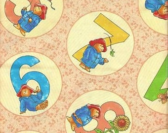 Fat Quarter Paddington Bear Numbers Print Cotton Quilting Fabric
