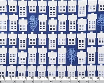 Fat Quarter Village and Trees Blue Cotton Quilting Fabric Copenhagen Print