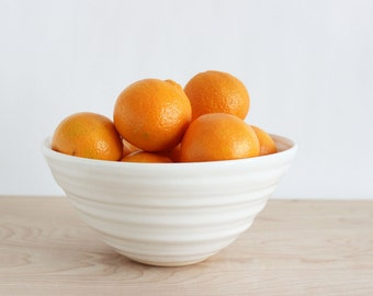 White ceramic bowl, large modern kitchen fruit white pottery serving bowl made in Virginia