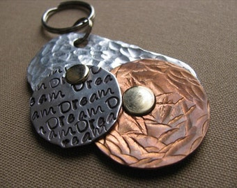 "Silver and Copper Textured, Metal, Statement Keychain- Textured Metal Keychain-hand-stamped pendant grouping- modern keychain- with ""Dream"""