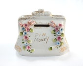 VINTAGE PIN MONEY Bank Purse - Ceramic China - Applied Flowers - Pocketbook - Roses - Kitsch