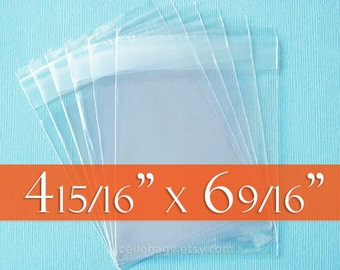 300 4 15/16 x 6 9/16 inch Resealable Cello Bags for A6 Card w/ Envelope, Choose Tape on Flap or Tape on Body Acid Free