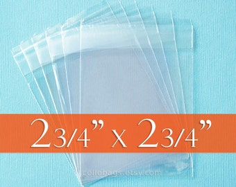 "200 2 3/4 x 2 3/4 inch SQUARE Resealable Cello Bags, Clear Cellophane Plastic Packaging, Acid Free (2.75"" x 2.75"")"