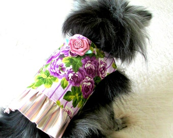 Small Dog Harness, Dog Harness, Cat Harness, Dog Vest, Small Dog Vest, Custom Fit, Cotton with Purple Rose Blossom Print and Striped Ruffle