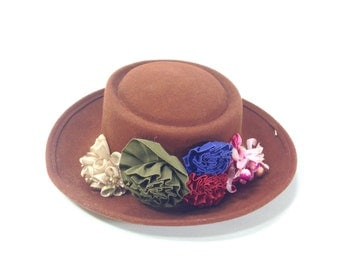 Floral Bowler Hat - Womens Bowler Hat - Brown Floral Hat - 90s Floral Hat - Felted Wool Bowler - Fedora with Flowers
