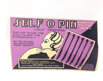 Antique Product Box - Deadstock 1920s Product Tin - Home Decor - Flapper Hair Pins - 1920s Flapper - Self O Pin Patent No. 1637492