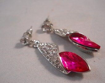 Silver Tone Post Dangle Earrings with a Pink Crystal Bead and tiny Clear Rhinestones and Crystal