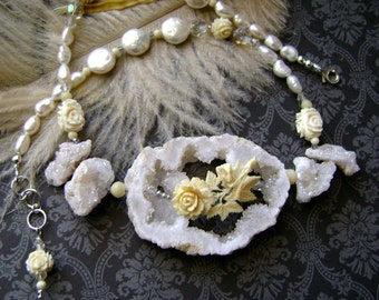 Bridal jewelry, Stars Above the Moon Rose, carved bone rose, druzy drusy, white pearls, vintage crystals, sterling, wedding, AnvilArtifacts