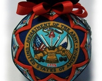 Quilted Ornament US Army FormaI Handmade Keepsake Ornament