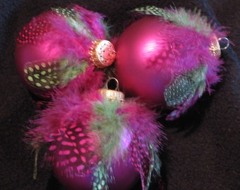 Pink and Green Feathered Ornament
