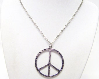 Silver Plated Hammered Peace Symbol Necklace