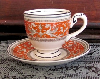 Bone China Cup & Saucer Set MYOTT Staffordshire Medici  Made In England