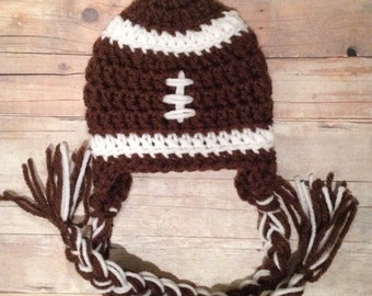 Football hat for newborn baby photo prop with braids