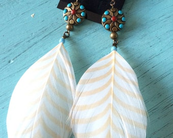 Beaded White Feather Earrings