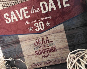 Rustic Surprise Party Save the Date