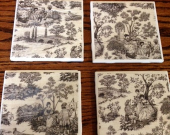 4 beautiful toile look coasters