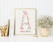 Flower monogram art print, custom with name nursery print, floral initial nursery print, pink and teal nursery decor, girls nursery wall art