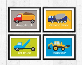 Trucks construction decor, boy art prints, construction prints, construction art, baby nursery decor, kids wall art, nursery prints