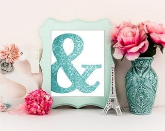 ampersand art print, ampersand decor, damask wall art, nursery art print, kids bedroom print, home decor, modern home art print